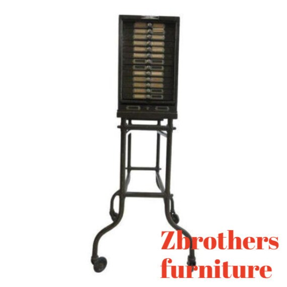 Antique Industrial Mid Century Multi Drawer Dental Filing Tool Cabinet Stand