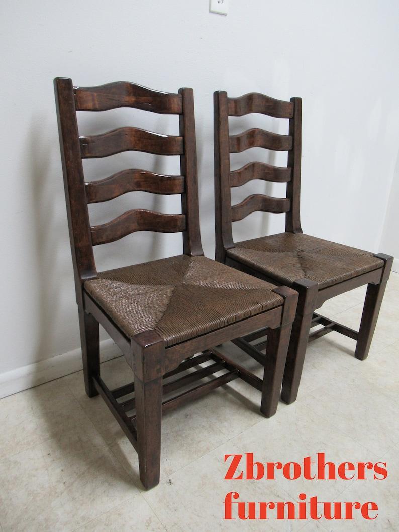 Pair Custom British Colonial Rush Seat Dining Room Desk Side Chairs B