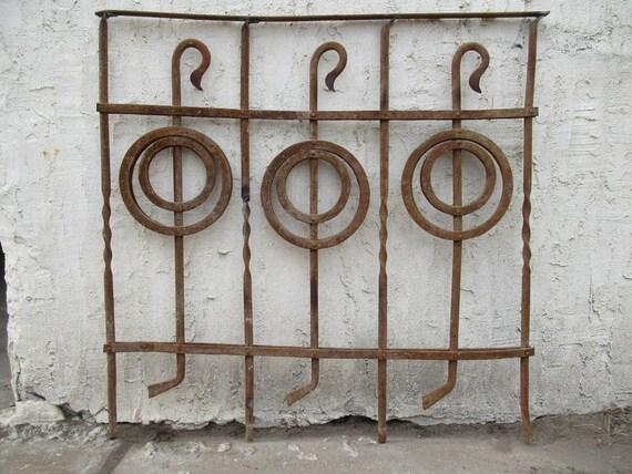 Antique Victorian Iron Gate Window Garden Fence Architectural Salvage Door #091