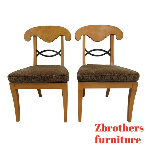 Pair Baker Furniture Biedermeier Style Neo Classical Dining Room Side Chairs