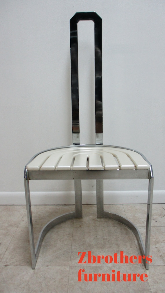 Vintage Design Institute Chrome High Back Dining Room Side Chair Mid Century A