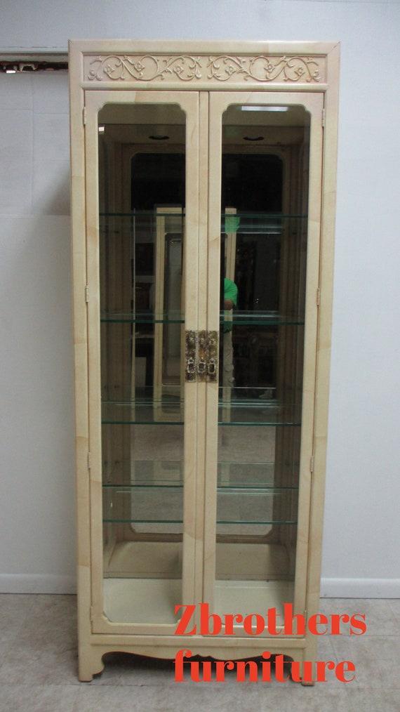 Vintage Henredon Faux Goatskin Pan Asian Campaign  Curio Display Cabinet China A