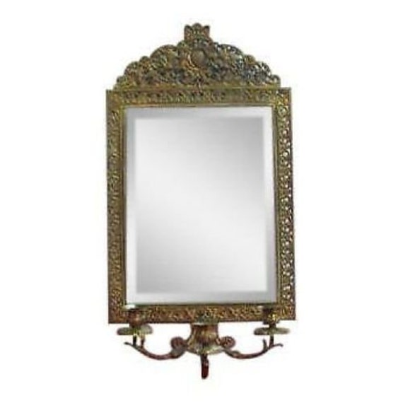 Antique Bronze Cast Hanging Wall Sconce Mirror French Regency