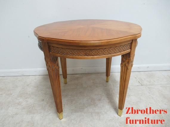 Century Furniture Italian Regency Carved Lamp End Table Pedestal A