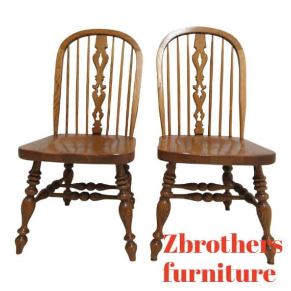 Pair Ethan Allen Dining Room Side Chairs Windsor Back Charter Oak Jacobean
