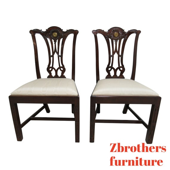 Pair Maitland Smith Dining Room Side Chairs Pierce Carved Chippendale C