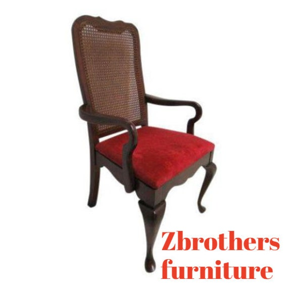 Vintage Thomasville Solid Cherry Queen Ann Caned Dining Room Arm Desk Chair.