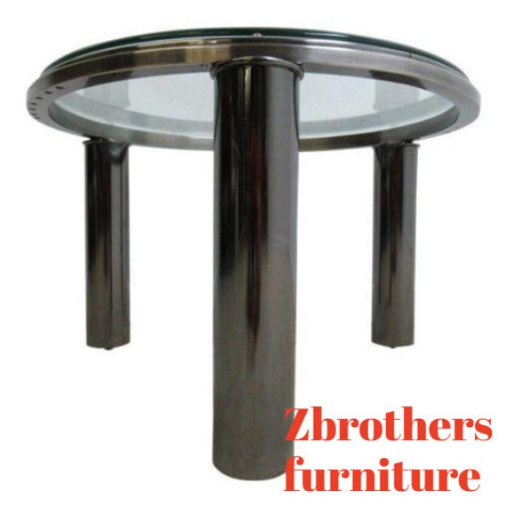 Vintage Round Floating Chrome Mid Century Lamp End Table Pedestal A