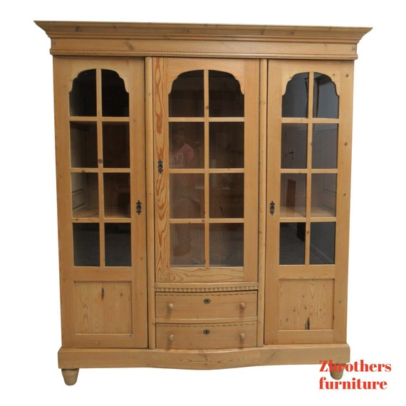 Old Knotty Pine Cabinets: Antique European Knotty Pine China Cabinet Hutch