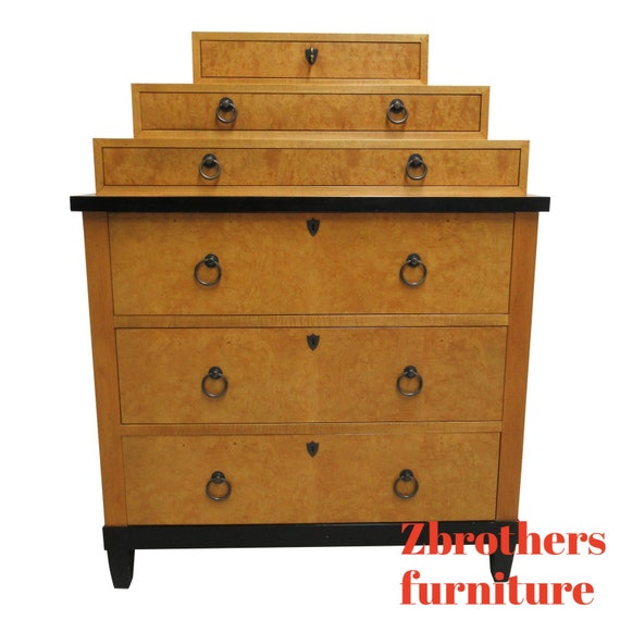 Baker Furniture Biedermeier Style Neo Classical Graduated Silver Chest Dresser