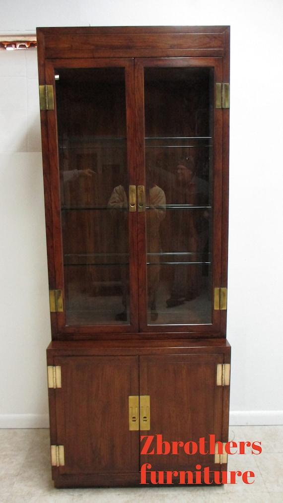Henredon Scene One Campaign Hutch Display Cabinet Curio Shelf A
