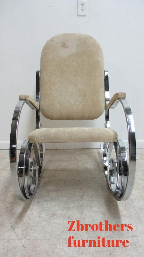 Vintage Italian Chrome Rocker Rocking Chair Mid Century