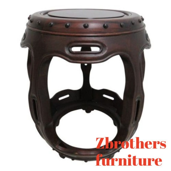 Vintage Quality Rosewood Chinese Chippendale Barrel Drum Lamp End Table