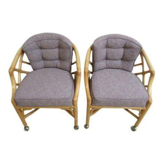 Pair Vintage Ficks Reed Rattan Bamboo Arm Chairs A   Etsy