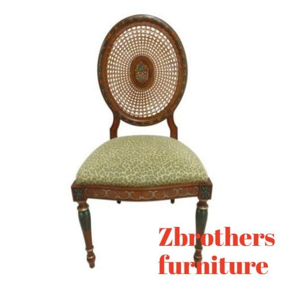 Custom Italian Adams Paint Decorated Cane Back Side Desk Chair