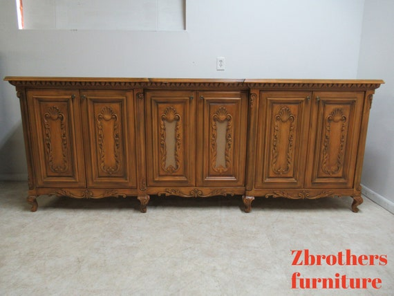 10ft Custom Monumental French Regency Console Sideboard Media Cabinet Bar