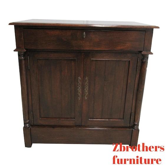 Custom Bausman Company British Colonial Distressed Tv Entertainment Cabinet Pine