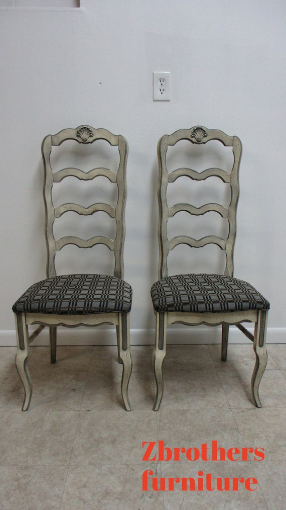2 Vintage French Country Dining Room Side Chairs Ladder back Paint Decorated B