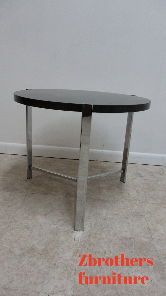Mid Century Flat Stock Chrome X Base Lamp end Table Marble Top