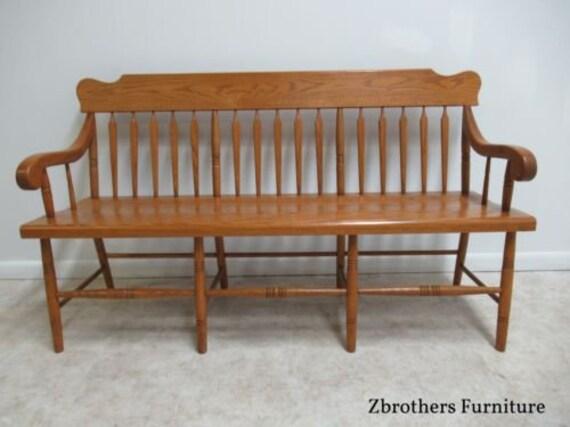 Awe Inspiring Vintage Oak Windsor Rail Road Deacon Bench Custom Amish Made Inzonedesignstudio Interior Chair Design Inzonedesignstudiocom
