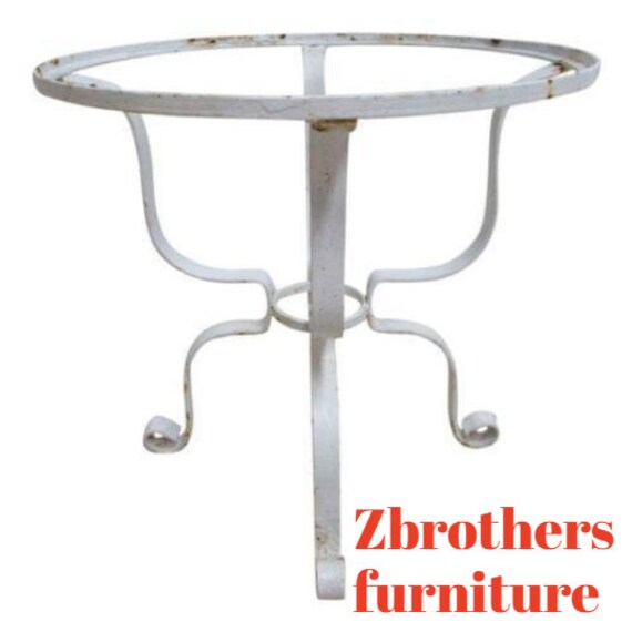 Vintage French Outdoor Round Patio Porch Lamp End Table B