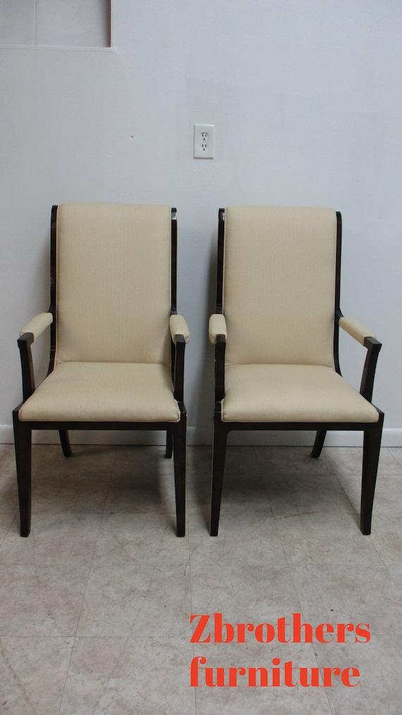 Pair Vintage Mastercraft Amboyna Neo Classical Dining Room Arm Chairs Burl Wood