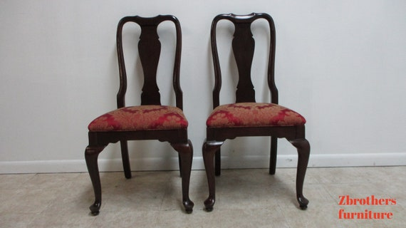 Pair Ethan Allen Georgian Court Queen Ann Dining Room side Chairs A