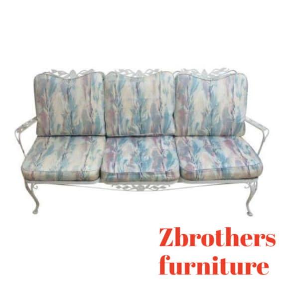 Vintage Outdoor Patio Iron Sofa Settee Couch Love Seat Woodard