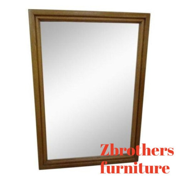 VINTAGE SOLID OAK Dresser Wall Hall Mirror