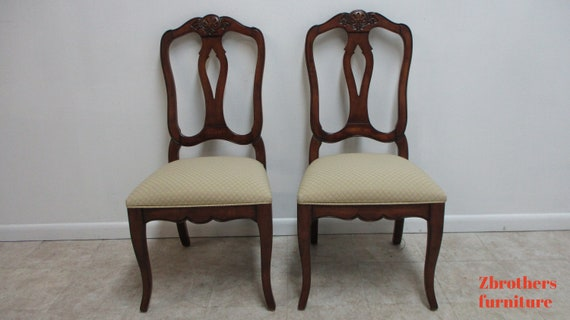 Pair Ethan Allen Country French Legacy Dining Room Side Chairs C