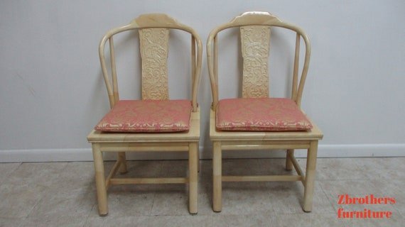 Vintage Henredon Faux Goatskin Pan Asian campaign dining room side chair B