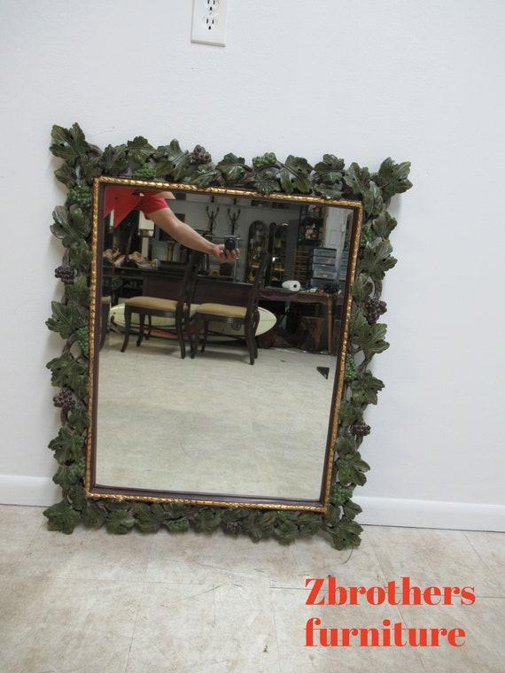 Entree Decorative Grape Vines Leaves Hanging Rectangular Wall Mirror