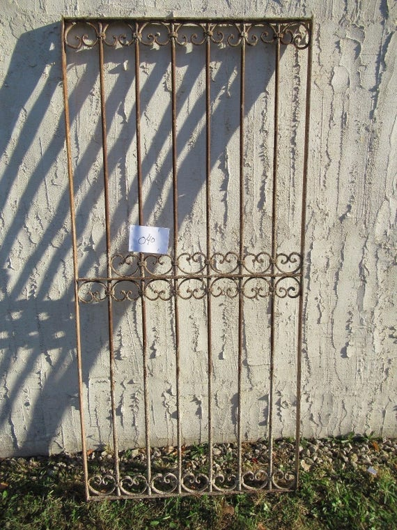 Antique Victorian Iron Gate Window Garden Fence Architectural Salvage Door #040