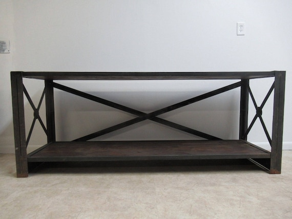 Industrial Steel Reclaimed Wood Console Shelf Sideboard TV Stand