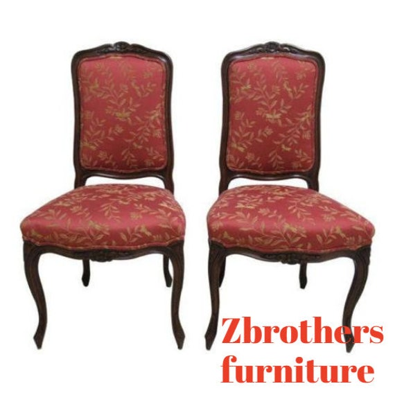 Pair Country French Fremarc Designs Dining Room Desk Side Chairs Walnut C
