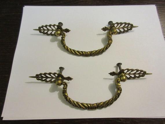 2 Regency Braided Rope Brass Hardware Drawer pull Handles Dresser filegree A
