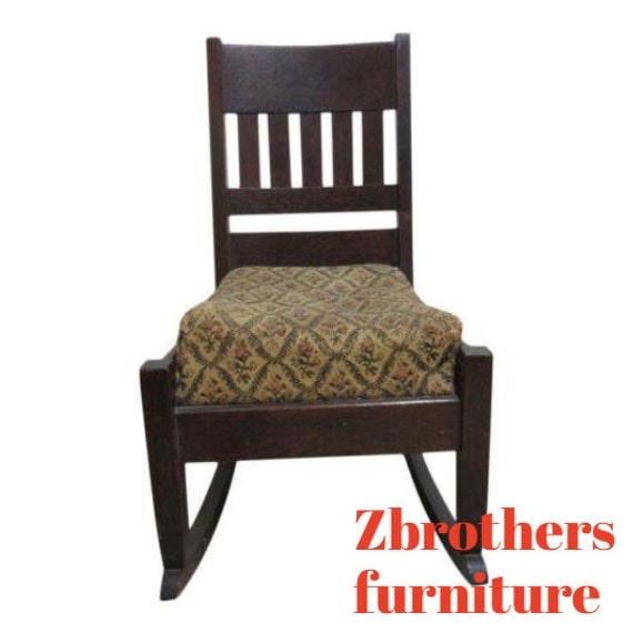 Antique Tiger Mission Oak petite Childs ? Rocker Rocking Chair Carpet Cutter