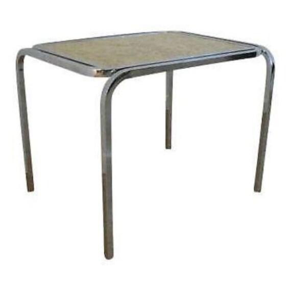 Mid Century Chrome Burl Lamp End Table A