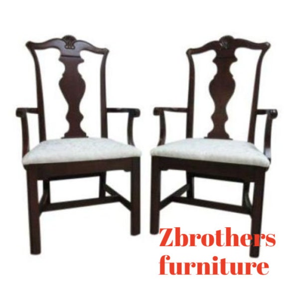 Pair Pennsylvania House Cherry Shell Carved Dining Room Arm Chairs Set A