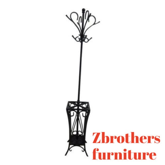 Heavy Wrought Iron Decorator Clothes Tree Hat Rack Umbrella Stand