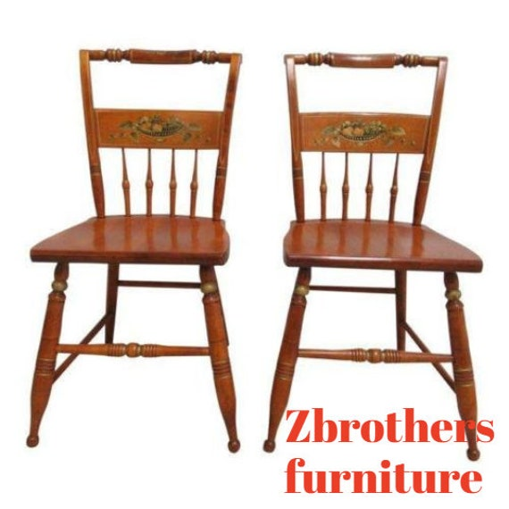 Pair Bent Brothers Plank Bottom Hitchcock Style Dining Room Desk Side Chairs