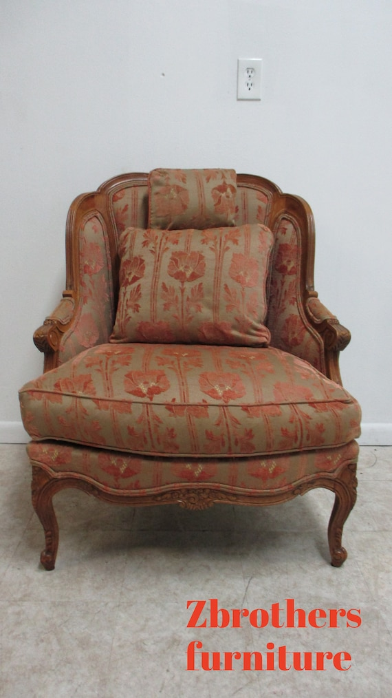 Stickley Furniture French Carved Living Room Lounge Arm Chair