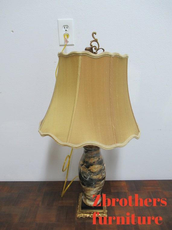 Italian Regency Brass Marble Urn Table Lamp Louis XV B