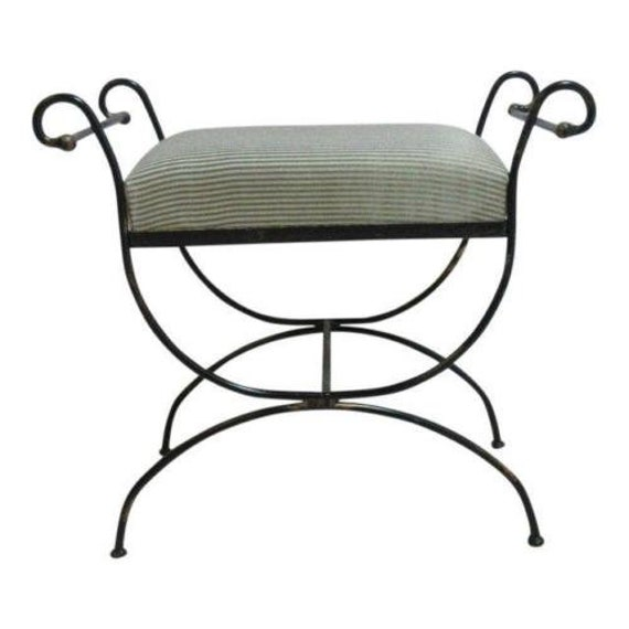 Excellent Vintage Wrought Scroll Iron Italian Regency Vanity Stool Bench Seat A Dailytribune Chair Design For Home Dailytribuneorg