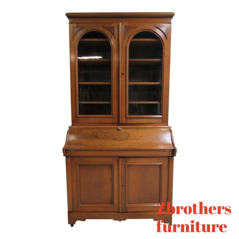 Antique Secretary Desk Etsy >> Antique Victorian Walnut Drop Front Ladies Secretary Desk