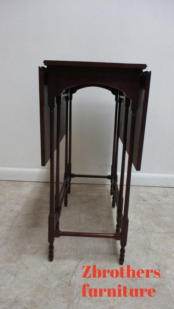 Vintage Baker Furniture Historic Charleston Drop Leaf Gateleg Mahogany Side End  Table