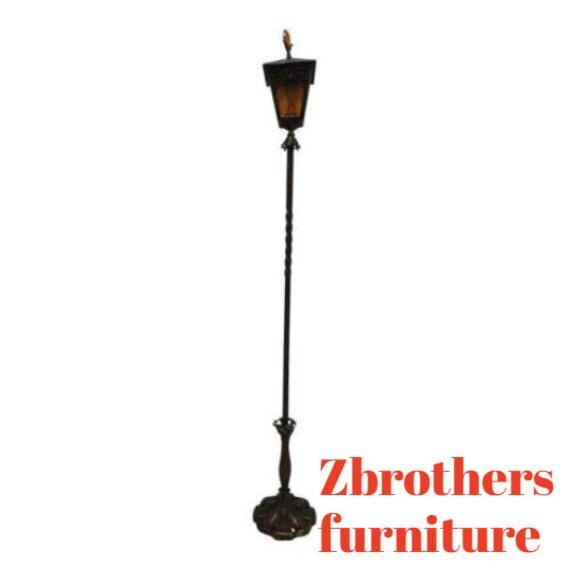 Antique Art Nouveau Etched Metal Pole Floor Lamp Light Lantern A