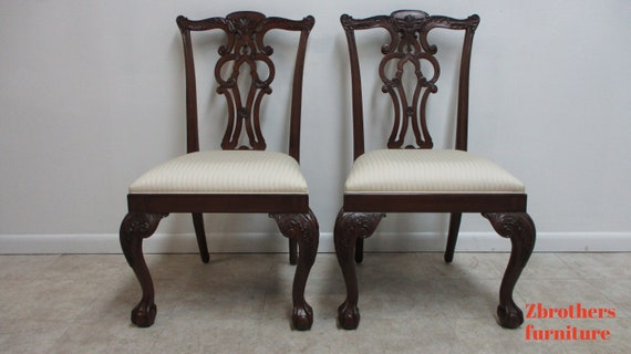 Pair Ethan Allen 18th Century Mahogany Ball Claw Chippendale Dining Chairs A