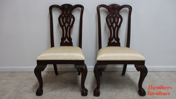 Pair Maitland Smith Mahogany Chippendale Dining Room Side Chairs Ball Claw A