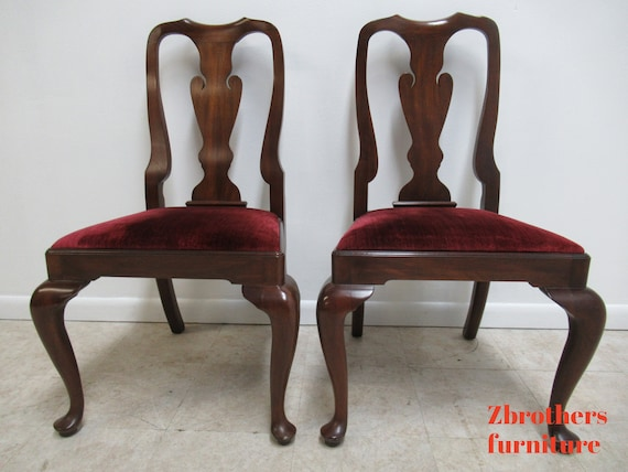 2 Henkel Harris Mahogany Queen Ann Chippendale  Dining Room side Chairs B